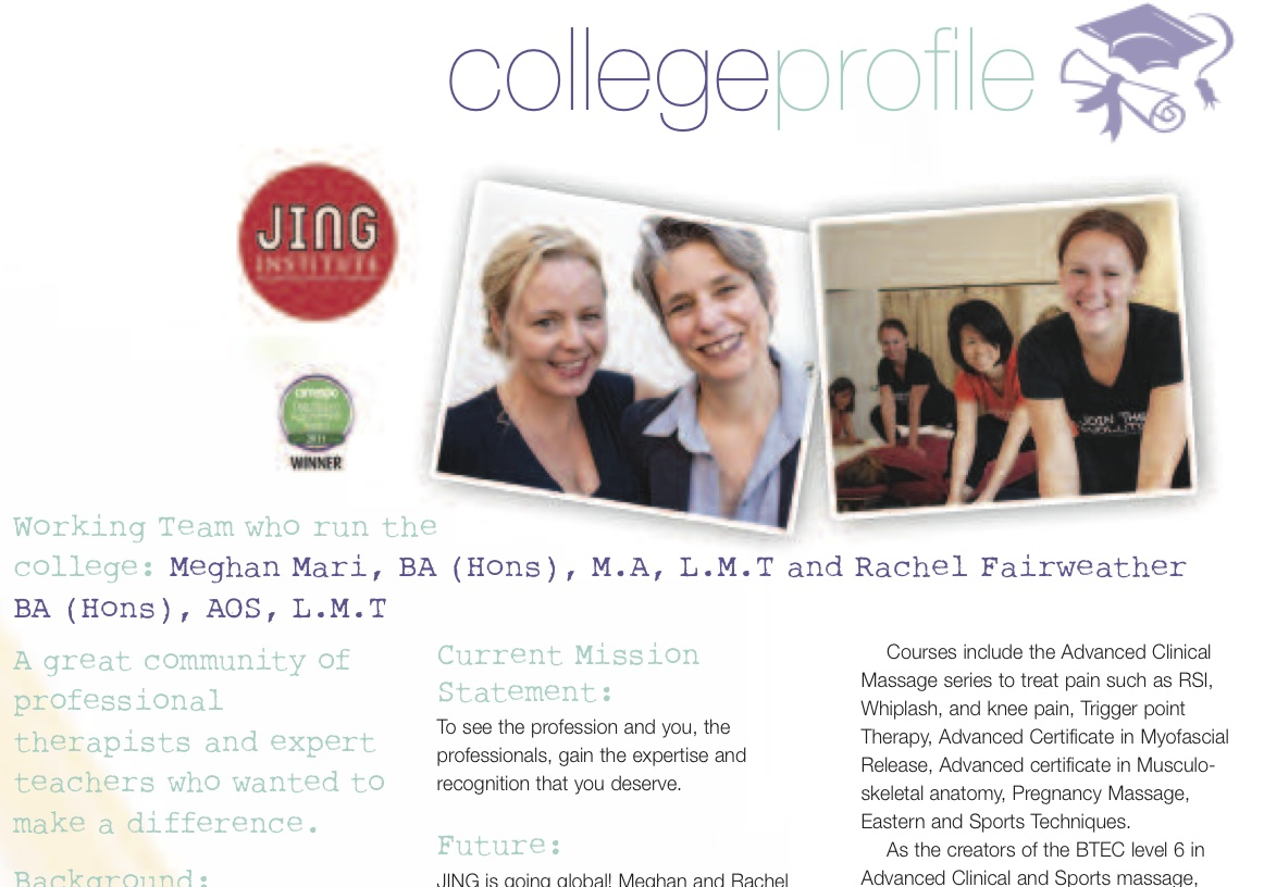Massage World College Profile On The Jing Institute