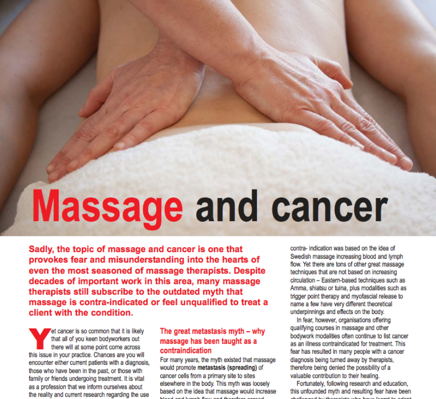 Massage And Cancer By Rachel Fairweather Yvonne Cervetti And Sally