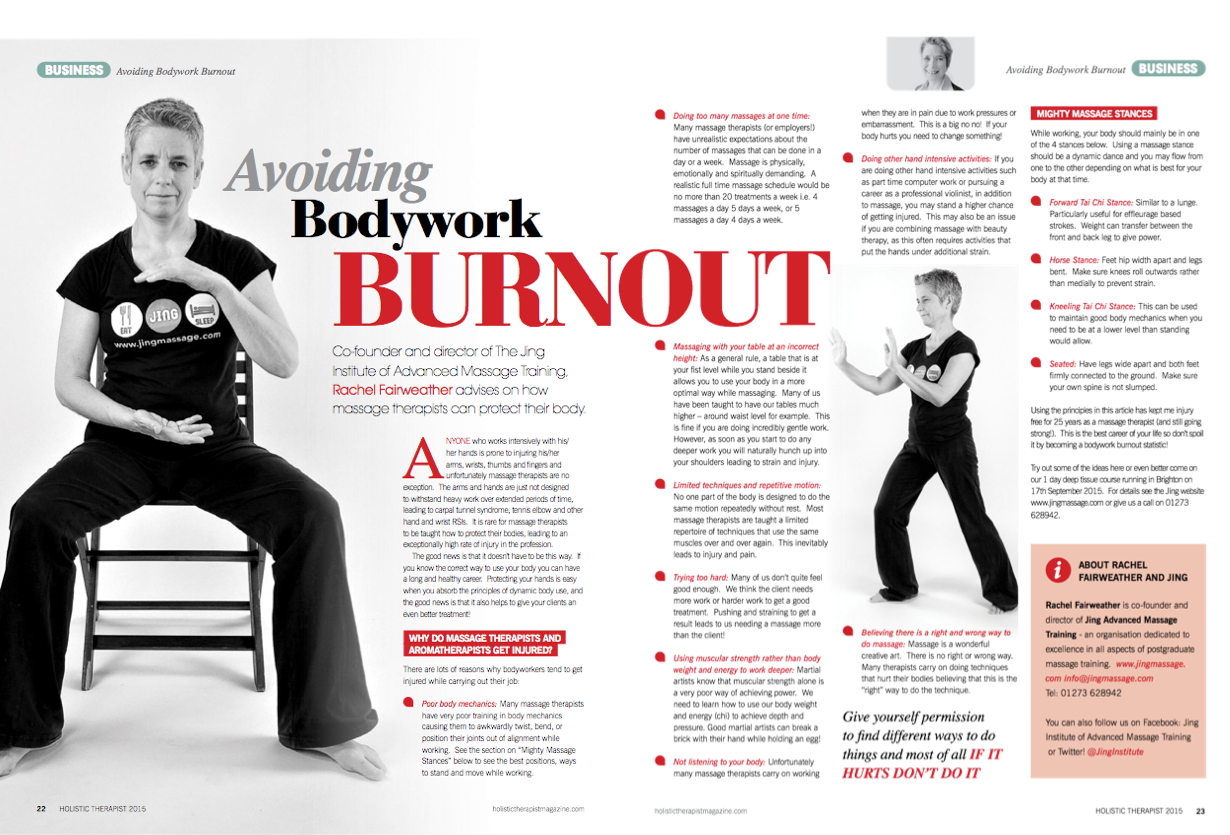 Advance physical therapy magazine - Avoiding Bodywork Burnout By Rachel Fairweather For Holistic Therapist Magazine